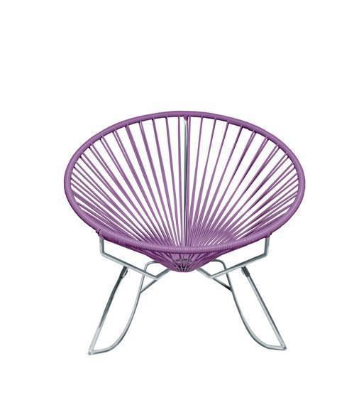 Outdoor Lounge Chair Orchid  Weave on Chrome Frame Innit Rocker on Chrome Frame