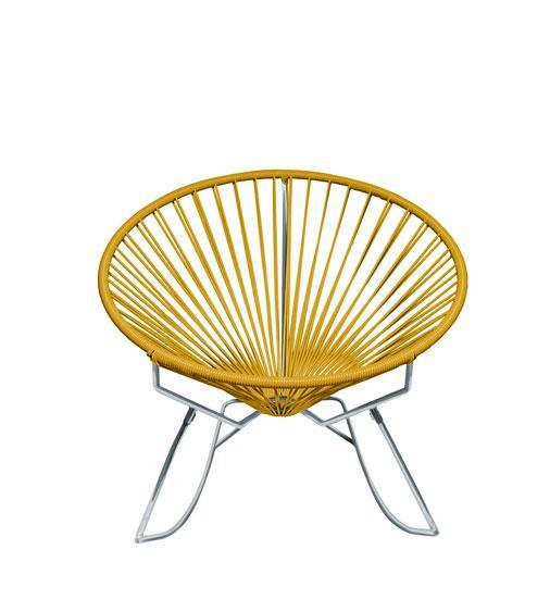 Outdoor Lounge Chair Caramel Weave on Chrome Frame Innit Rocker on Chrome Frame