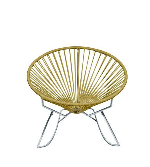 Outdoor Lounge Chair Gold Weave on Chrome Frame Innit Rocker on Chrome Frame