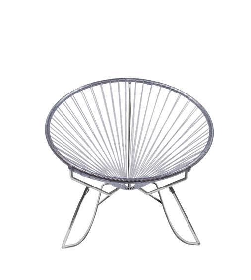 Outdoor Lounge Chair Clear Weave on Chrome Frame Innit Rocker on Chrome Frame