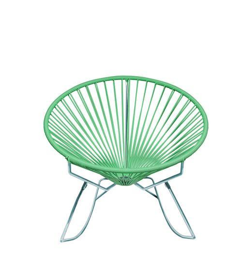 Outdoor Lounge Chair Mint Weave on Chrome Frame Innit Rocker on Chrome Frame