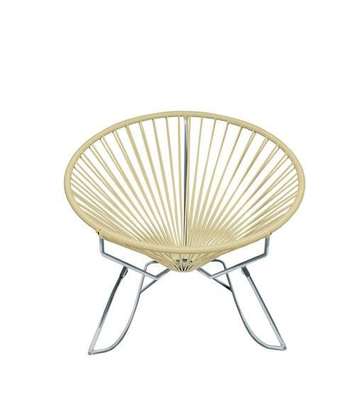 Outdoor Lounge Chair Ivory Weave on Chrome Frame Innit Rocker on Chrome Frame