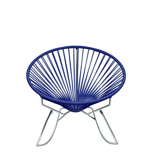 Outdoor Lounge Chair Deep Blue Weave on Chrome Frame Innit Rocker on Chrome Frame