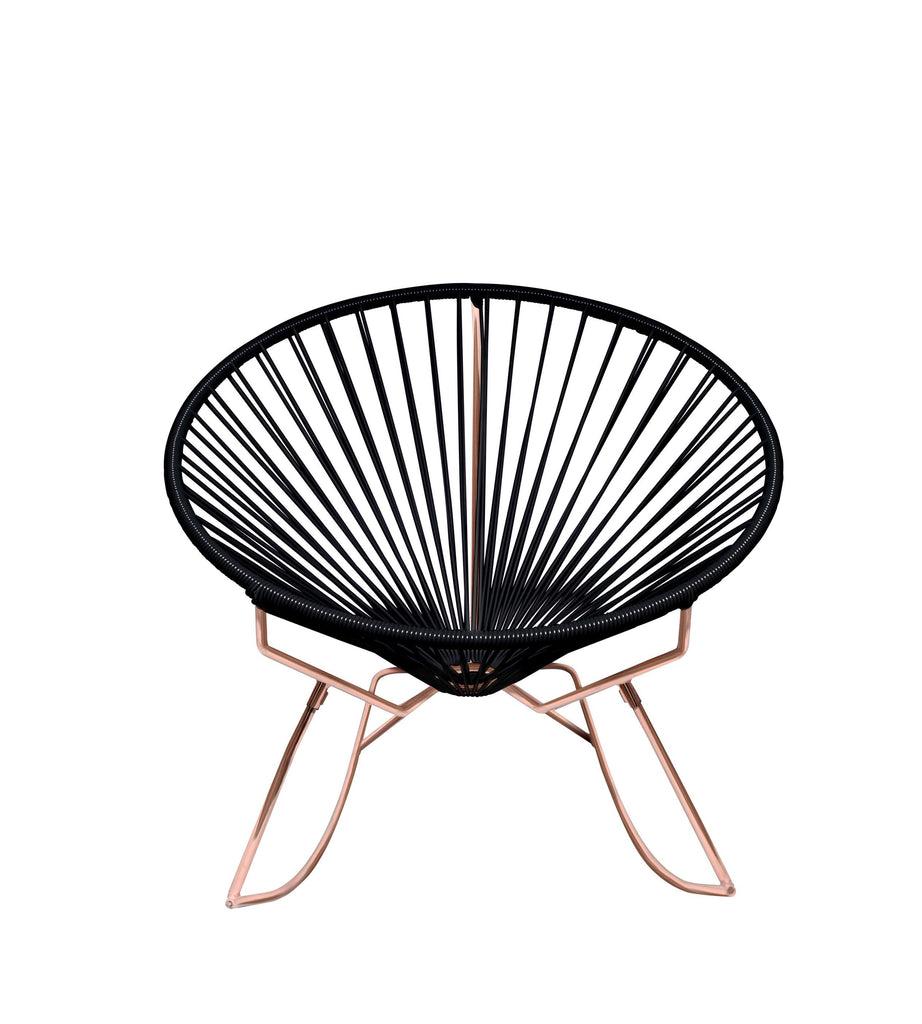Outdoor Lounge Chair Black Weave on Copper Frame Innit Rocker on Copper Frame