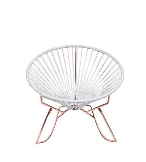 Outdoor Lounge Chair White Weave on Copper Frame Innit Rocker on Copper Frame