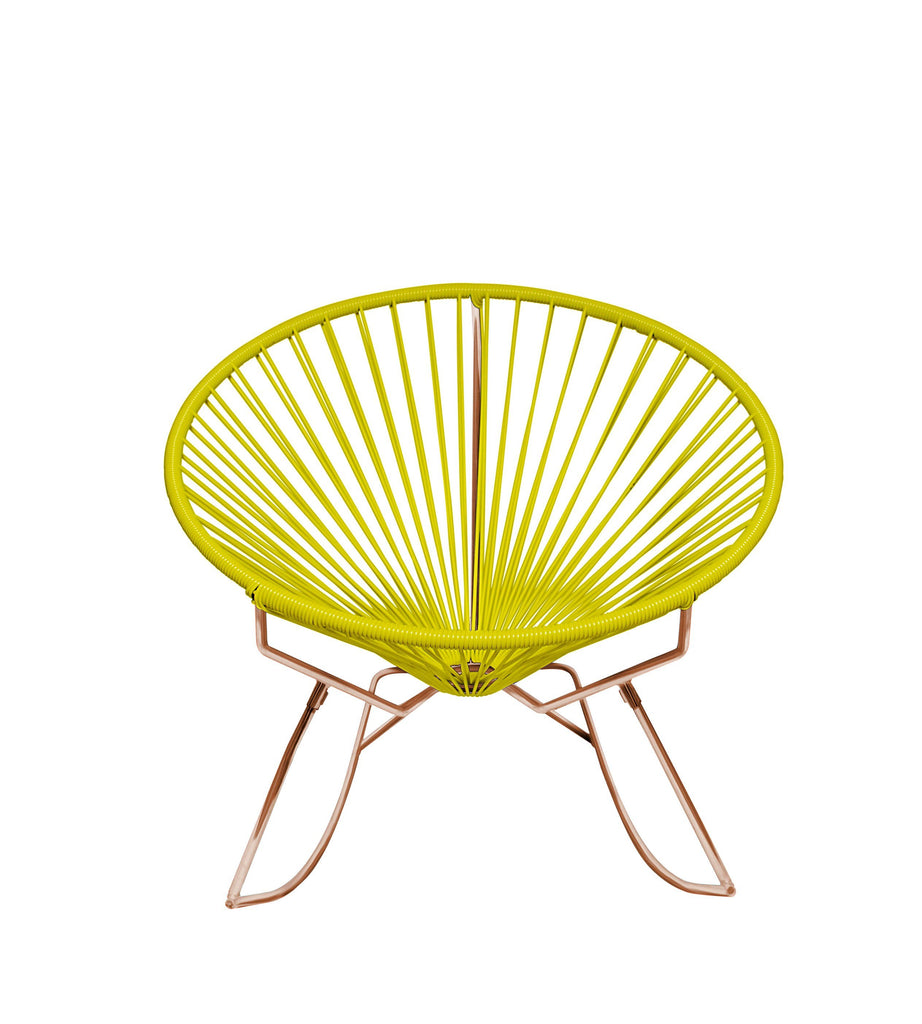 Outdoor Lounge Chair Yellow Weave on Copper Frame Innit Rocker on Copper Frame