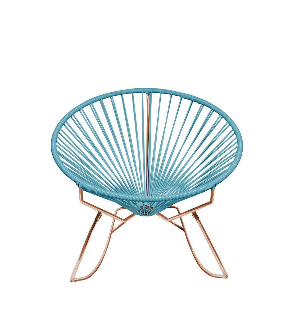 Outdoor Lounge Chair Blue Weave on Copper Frame Innit Rocker on Copper Frame