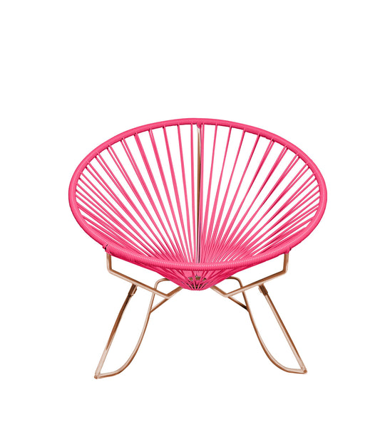 Outdoor Lounge Chair Pink Weave on Copper Frame Innit Rocker on Copper Frame