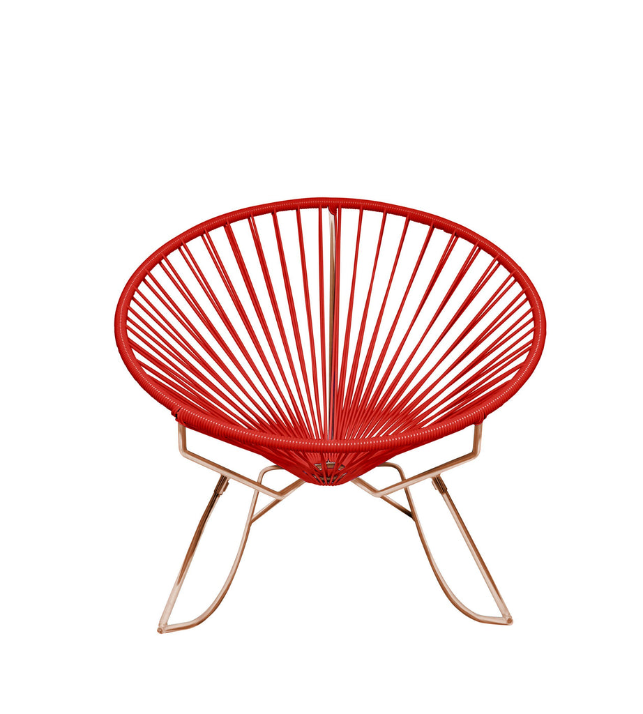 Outdoor Lounge Chair Red Weave on Copper Frame Innit Rocker on Copper Frame