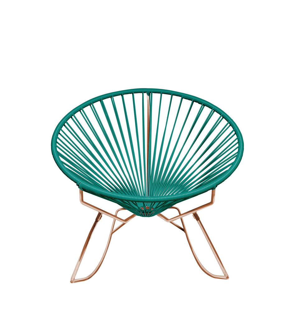 Outdoor Lounge Chair Turquoise Weave on Copper Frame Innit Rocker on Copper Frame
