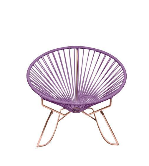 Outdoor Lounge Chair Orchid  Weave on Copper Frame Innit Rocker on Copper Frame