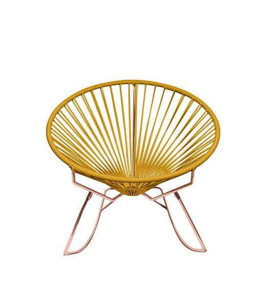 Outdoor Lounge Chair Caramel Weave on Copper Frame Innit Rocker on Copper Frame