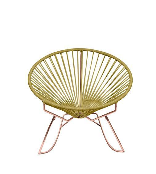 Outdoor Lounge Chair Gold Weave on Copper Frame Innit Rocker on Copper Frame