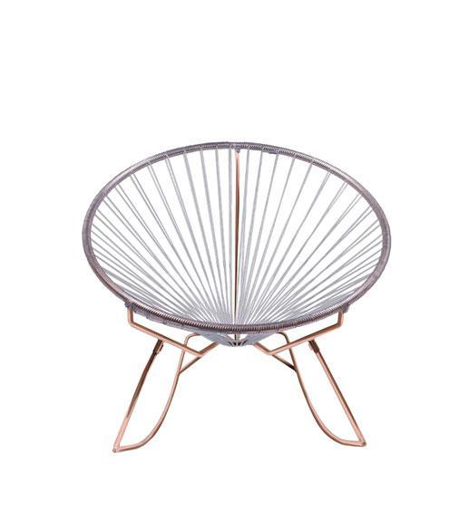 Outdoor Lounge Chair Clear Weave on Copper Frame Innit Rocker on Copper Frame