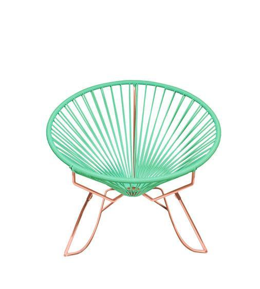 Outdoor Lounge Chair Mint Weave on Copper Frame Innit Rocker on Copper Frame