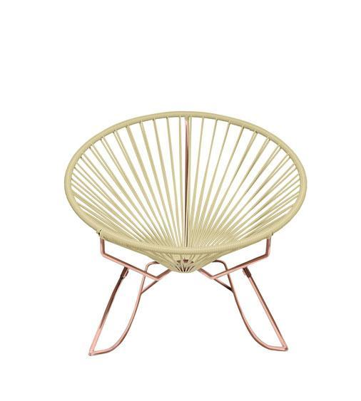 Outdoor Lounge Chair Ivory Weave on Copper Frame Innit Rocker on Copper Frame