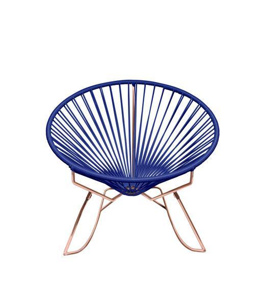 Outdoor Lounge Chair Deep Blue Weave on Copper Frame Innit Rocker on Copper Frame