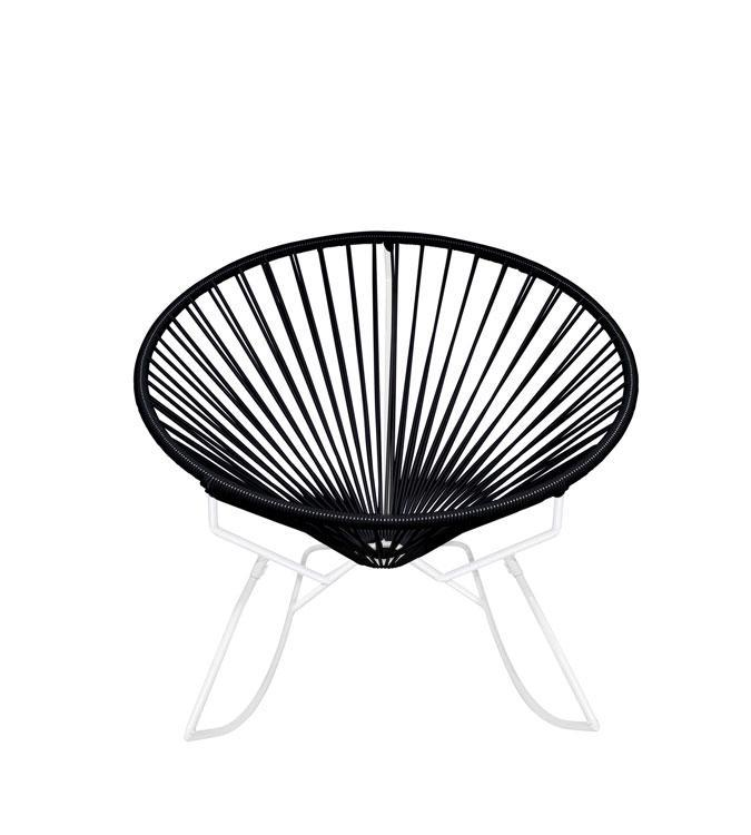 Outdoor Lounge Chair Black Weave on White Frame Innit Rocker on White Frame