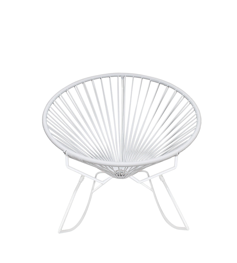 Outdoor Lounge Chair White Weave on White Frame Innit Rocker on White Frame