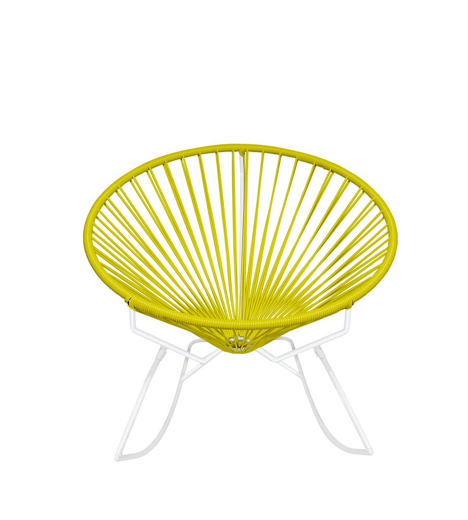 Outdoor Lounge Chair Yellow Weave on White Frame Innit Rocker on White Frame
