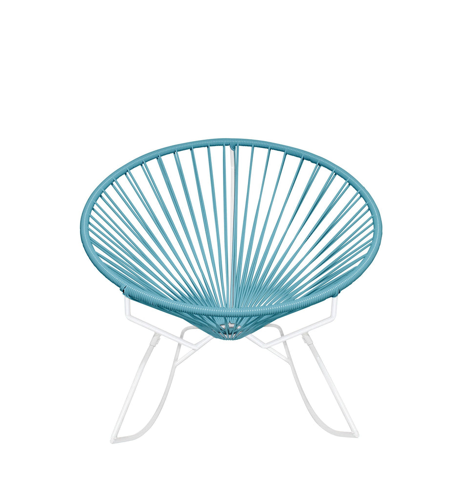 Outdoor Lounge Chair Blue Weave on White Frame Innit Rocker on White Frame