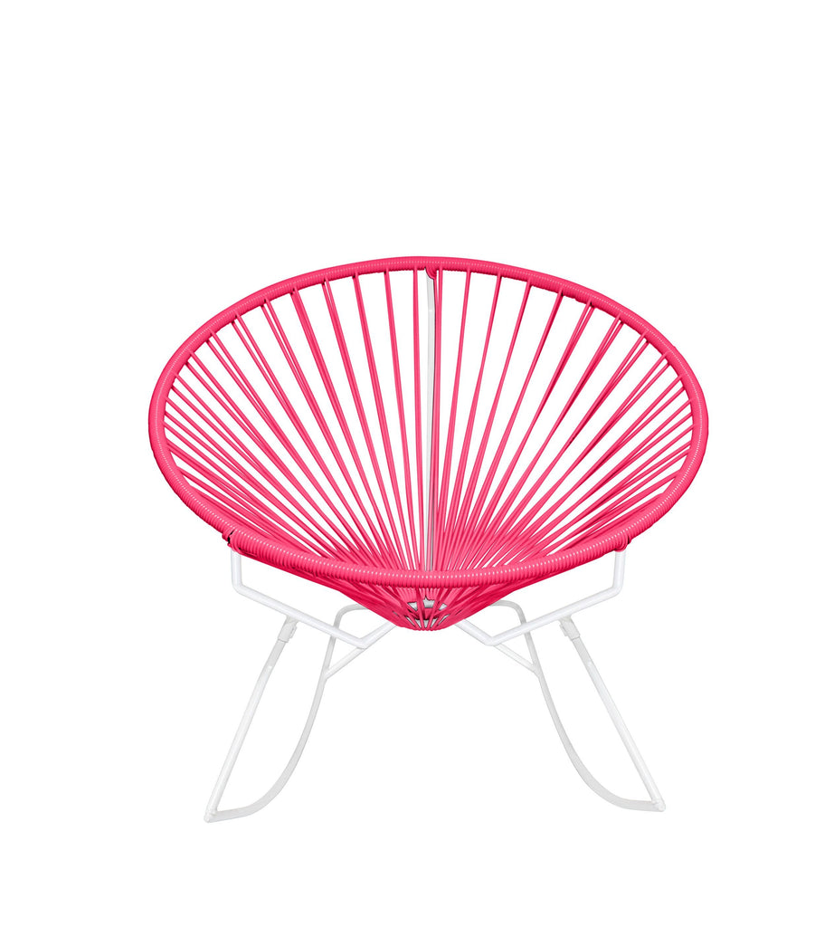 Outdoor Lounge Chair Pink Weave on White Frame Innit Rocker on White Frame