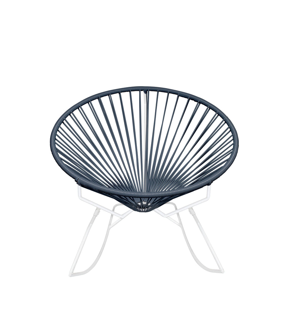 Outdoor Lounge Chair Grey Weave on White Frame Innit Rocker on White Frame