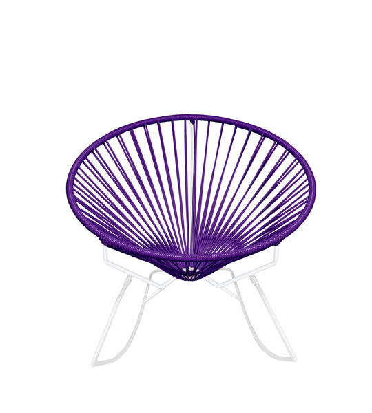 Outdoor Lounge Chair Purple Weave on White Frame Innit Rocker on White Frame
