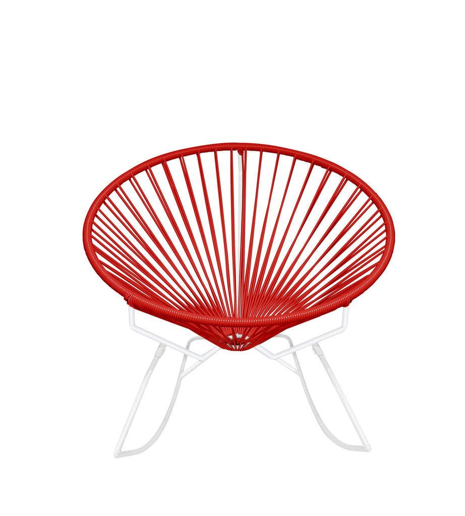Outdoor Lounge Chair Red Weave on White Frame Innit Rocker on White Frame