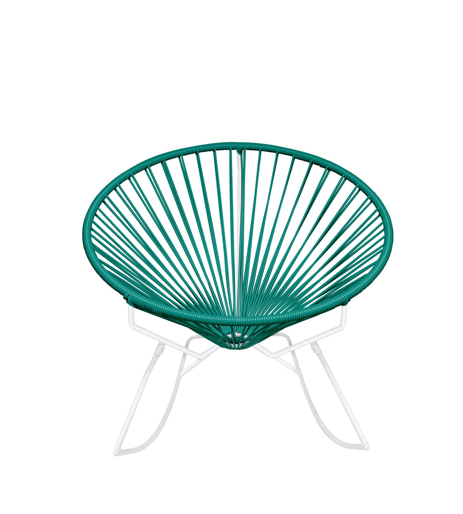 Outdoor Lounge Chair Turquoise Weave on White Frame Innit Rocker on White Frame