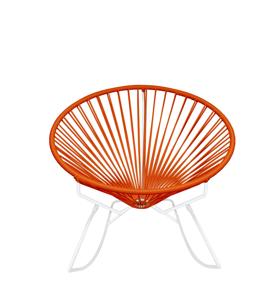 Outdoor Lounge Chair Orange Weave on White Frame Innit Rocker on White Frame