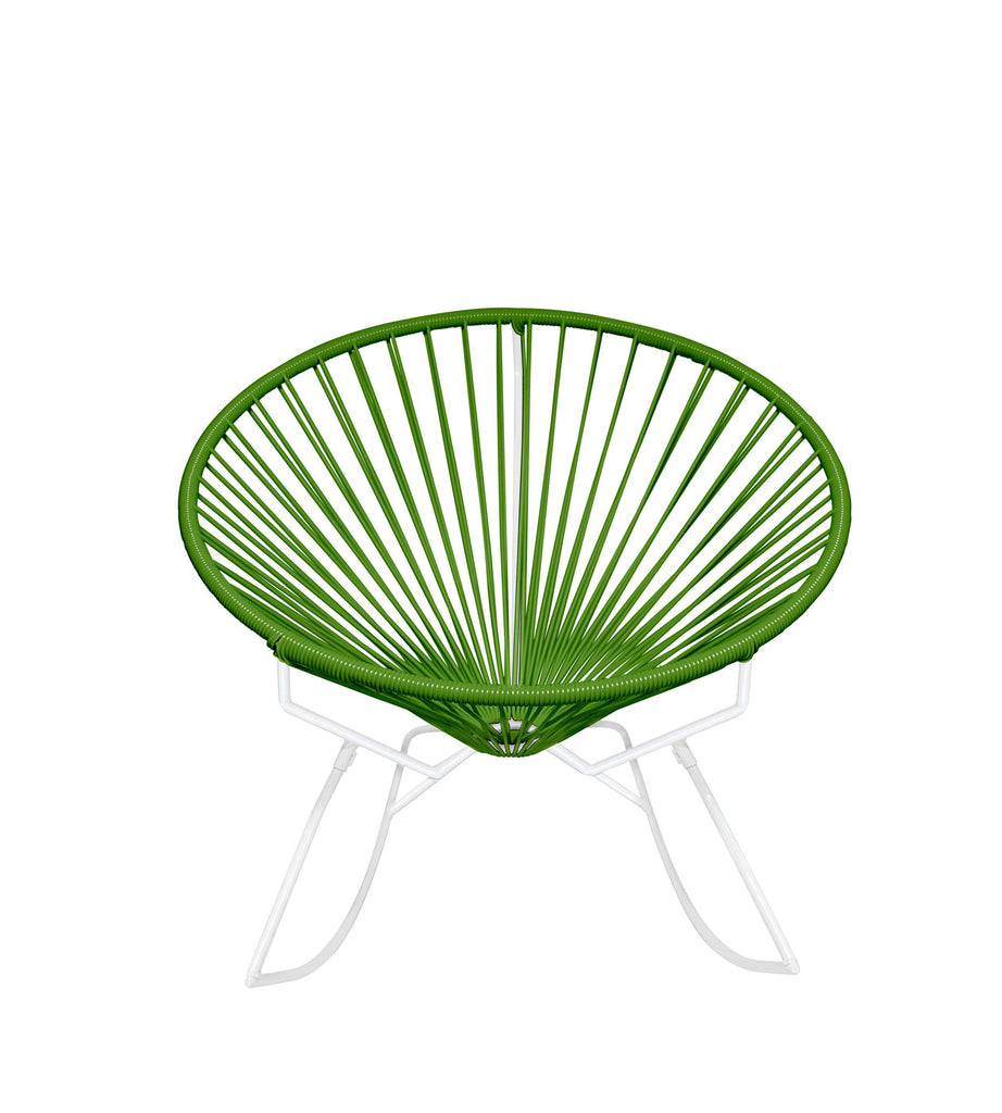 Outdoor Lounge Chair Cactus Weave on White Frame Innit Rocker on White Frame