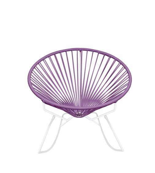 Outdoor Lounge Chair Orchid Weave on White Frame Innit Rocker on White Frame