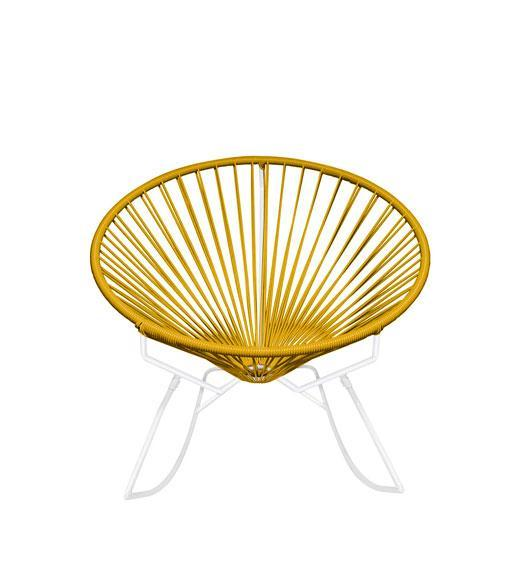 Outdoor Lounge Chair Caramel Weave on White Frame Innit Rocker on White Frame