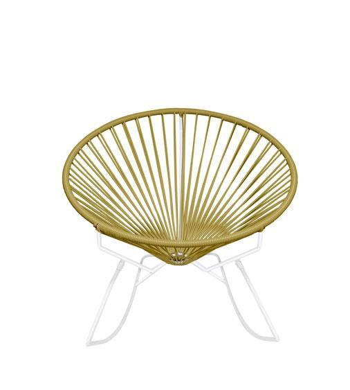 Outdoor Lounge Chair Gold Weave on White Frame Innit Rocker on White Frame