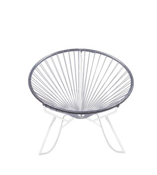 Outdoor Lounge Chair Clear Weave on White Frame Innit Rocker on White Frame