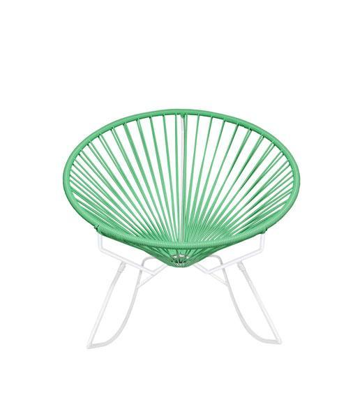 Outdoor Lounge Chair Mint Weave on White Frame Innit Rocker on White Frame