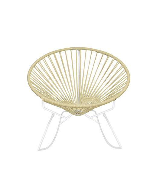 Outdoor Lounge Chair Ivory Weave on White Frame Innit Rocker on White Frame
