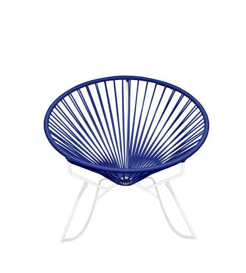 Outdoor Lounge Chair Deep Blue Weave on White Frame Innit Rocker on White Frame