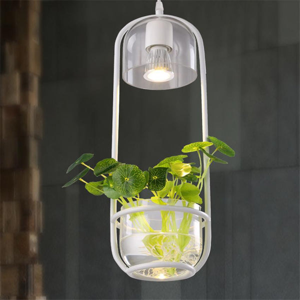 Iron Ellipse Frame LED Pendant Light with Glass Flower Pot at Lifeix Design