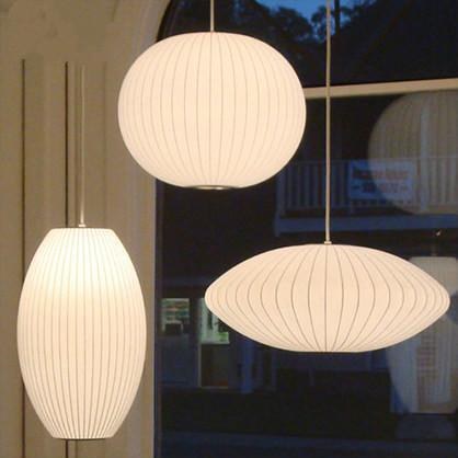 Japanese Style Silk Shade Pendant Light at Lifeix Design
