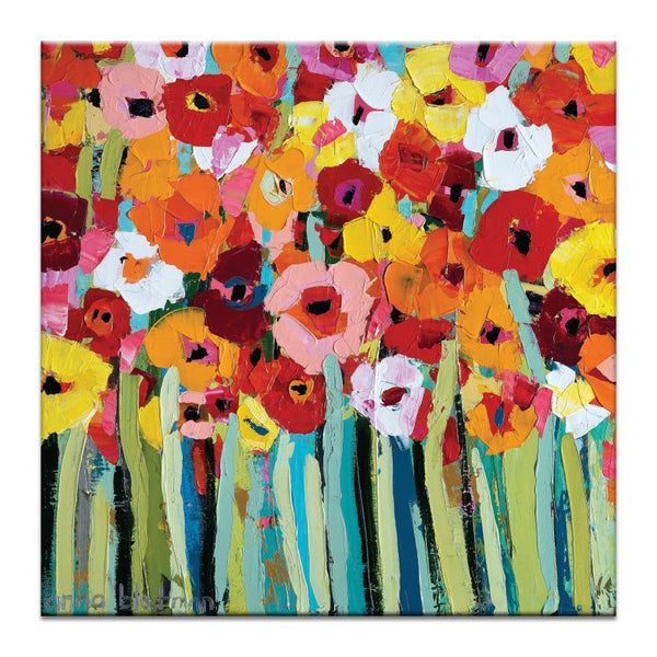 "Artwork 16x16x1.5"" Julies Blooms Artwork by Anna Blatman"
