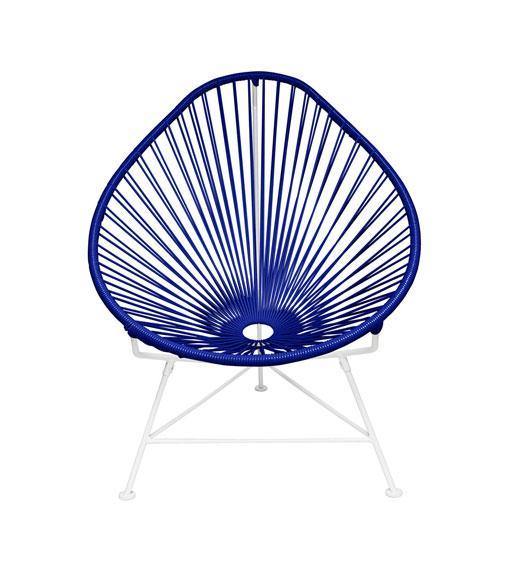 Kids Furniture Deep Blue Weave on White Frame Junior Acapulco Chair on White Frame