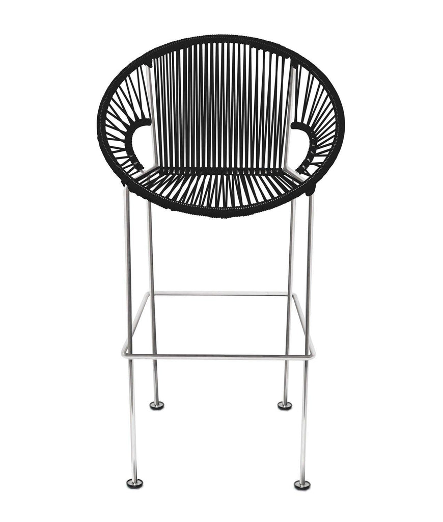 Bar Stools black Weave on black frame Large Puerto stool (bar height 45'') on Chrome Frame