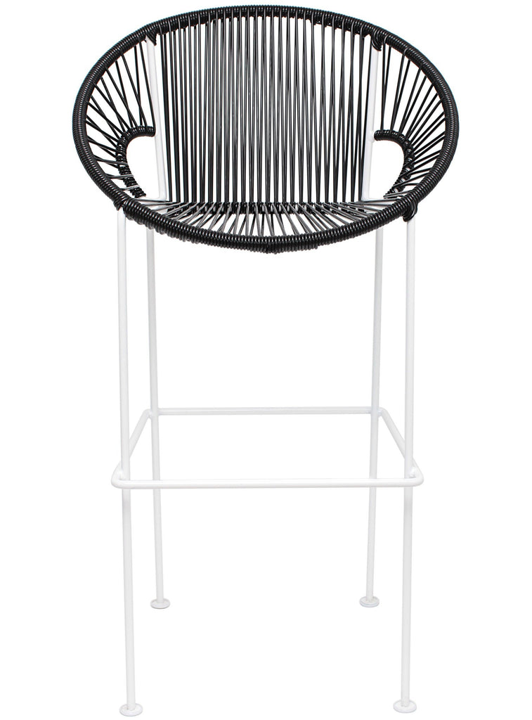 Bar Stools black Weave on black frame Large Puerto stool (bar height 45'') on White Frame