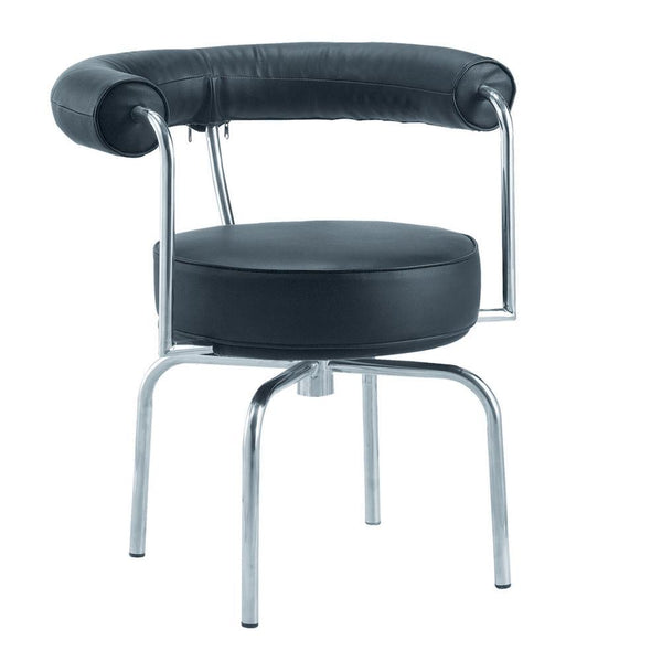 Black LC7 Swivel Armchair in Black Leather