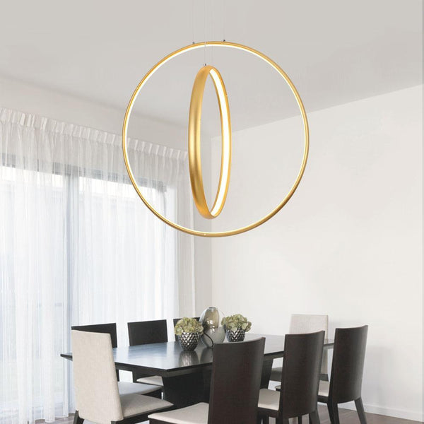 LED Golden Circles Chandelier - Modern Style Chandelier at Lifeix Design