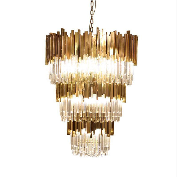 Luxurious Crystal & Metal Bar Droplight - Premium Modern Chandelier D120cm at Lifeix Design