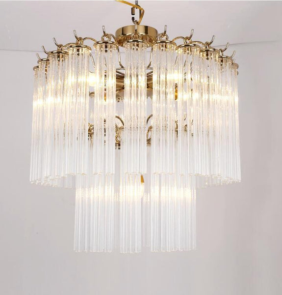 Luxurious Golden Chandelier - Crystal Pendant Light, 3-Layer at Lifeix Design