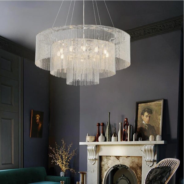 Luxurious Hanging Tassel Vintage Chandelier - Living Room/Dining Room Silver Pendant Lamp at Lifeix Design